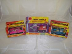 A group of Matchbox vehcles to include two Speed Kings cars and a Super Kings model. G-VG in F-G