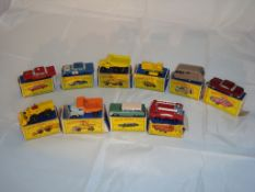 A group of Matchbox 1:75 series cars and trucks in original boxes as lotted. Generally G in P-F