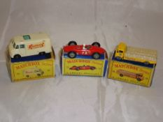 A group of three Matchbox Lesney vehicles to include a number 62 TV Service Van, a number 73