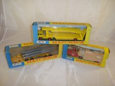 A selection of three boxed Matchbox King-Size lorries to include K-8, K-10 and K-18 G-VG in F-VG