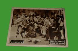 1916 - Behind The Screen - 1922 Re-Relaease - Lobby Card - Charlie Chaplin as an overworked labourer