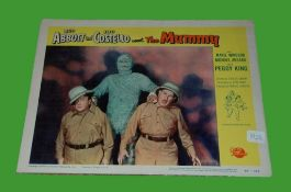 1955 - Abbot & Costello Meet the Mummy - Lobby Card - This portrait card features the comedy duo