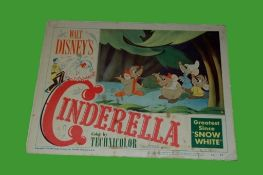 1950 - Cinderella - Lobby Card - Mice scene card. Disney's classic animated version of the childrens