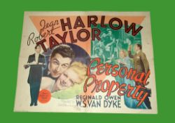 1937 - Personal Property - US Half Sheet. Jean Harlow and Robert Taylor feature in this great