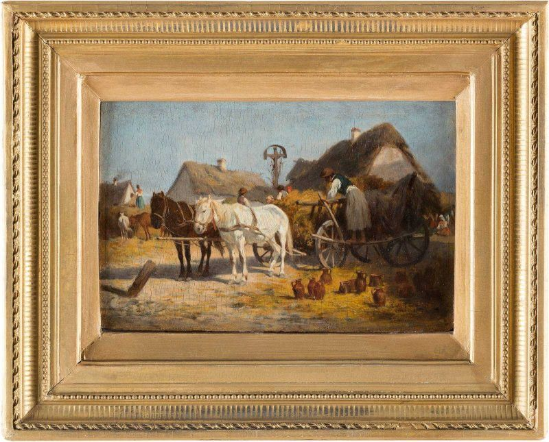 ANTONIO MONTEMEZZO 1841 San Paolo di Piane - 1898 München Töpfer beim Entladen seiner Ware Öl auf - Image 2 of 2