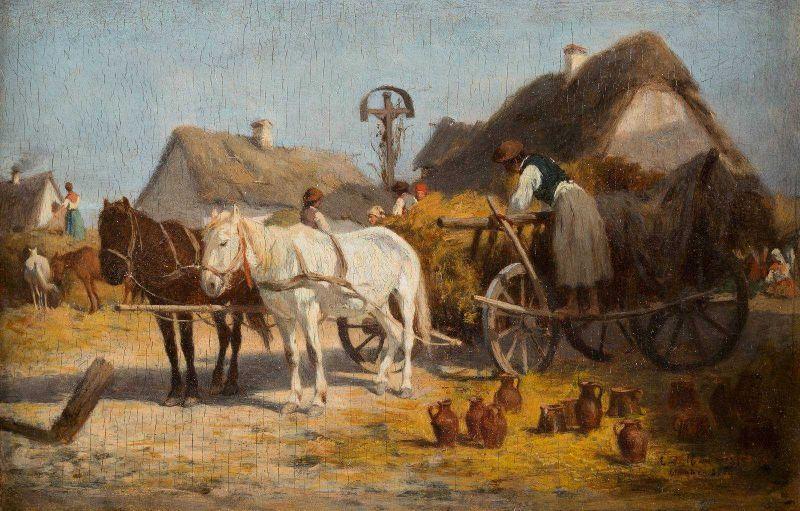 ANTONIO MONTEMEZZO 1841 San Paolo di Piane - 1898 München Töpfer beim Entladen seiner Ware Öl auf