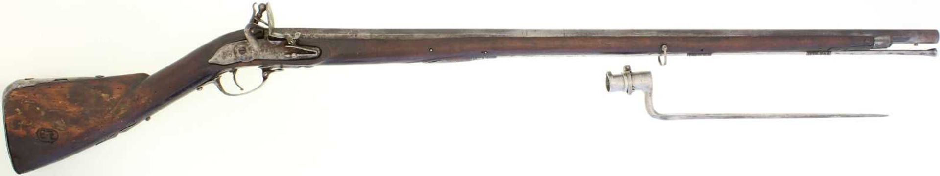 Steinschlossgewehr, Kanton Bern, um 1750, Kal. 18mm LL 995mm, TL 1365mm, Rundlauf, hinterer