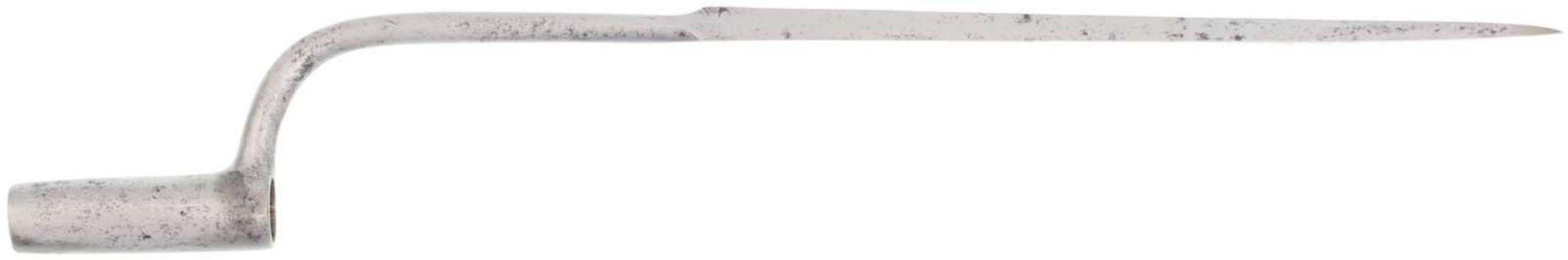 Stichbajonett Bern Infanterie 1804 KL 30cm, TL 52.5cm, volle dreikantige Klinge, runder Ansatz im