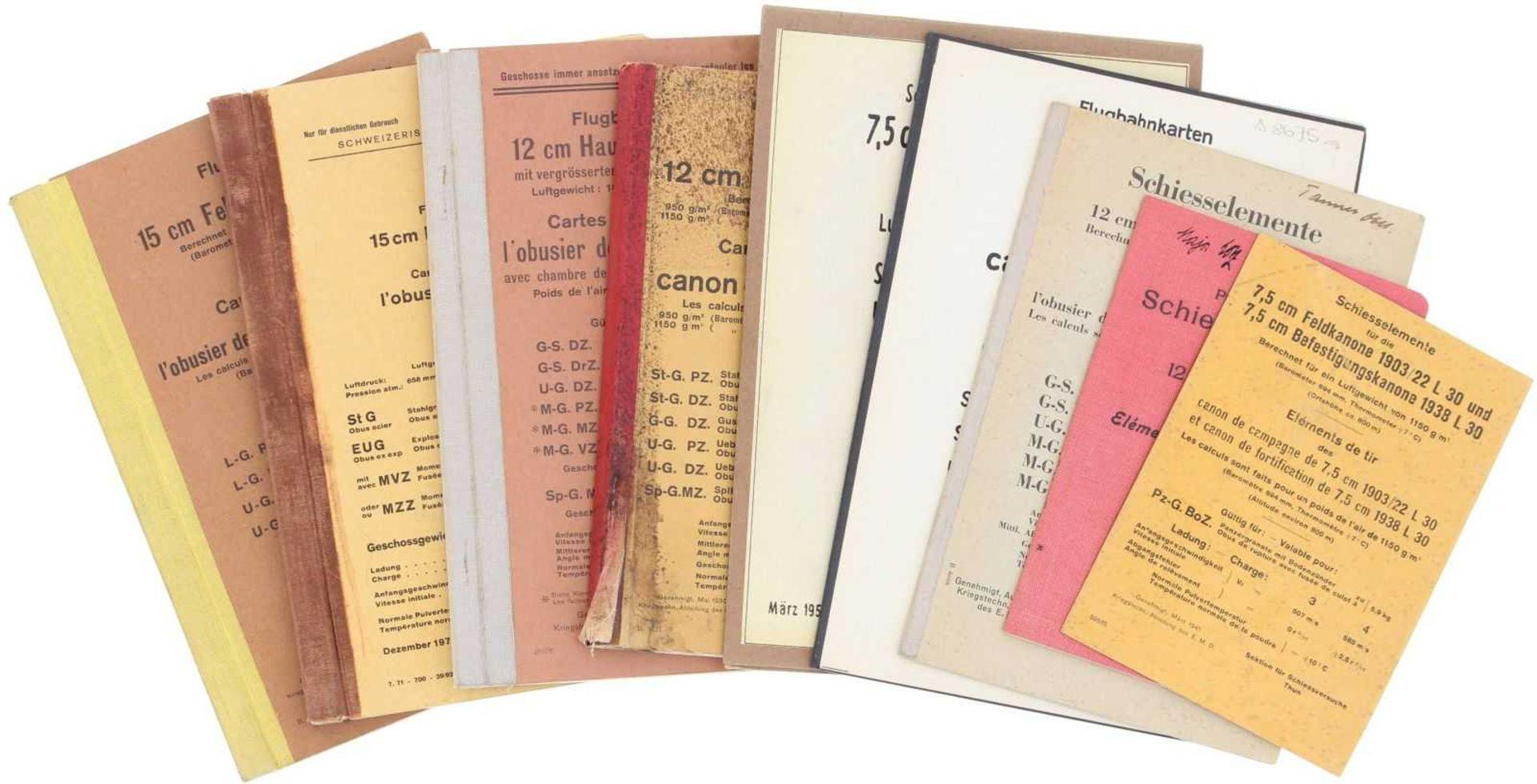 Konvolut von 9 Artillerie-Flugbahnkarten und Schiesselementtabellen 5 Stk. Flugbahnkarten zu: 15cm