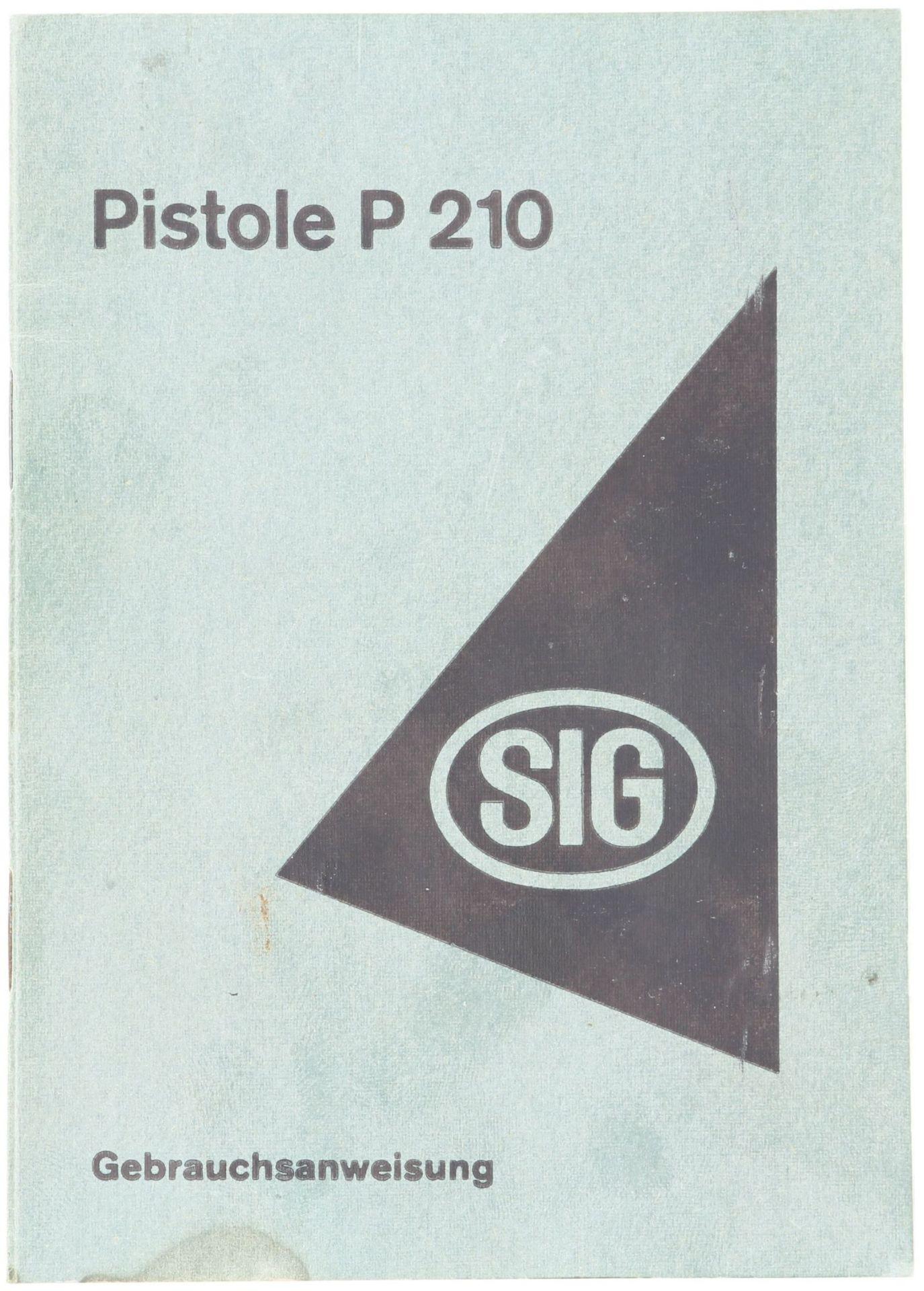 Bedienungsanleitung für die SIG P210 1. Auflage 1950 Grün kartonierte Bedienungs- und