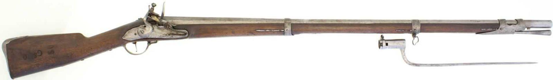Steinschlossgewehr, Kantonale Ord. Solothurn, ca. 1770, resp. 1817, Kal. 18mm LL 1030mm, TL
