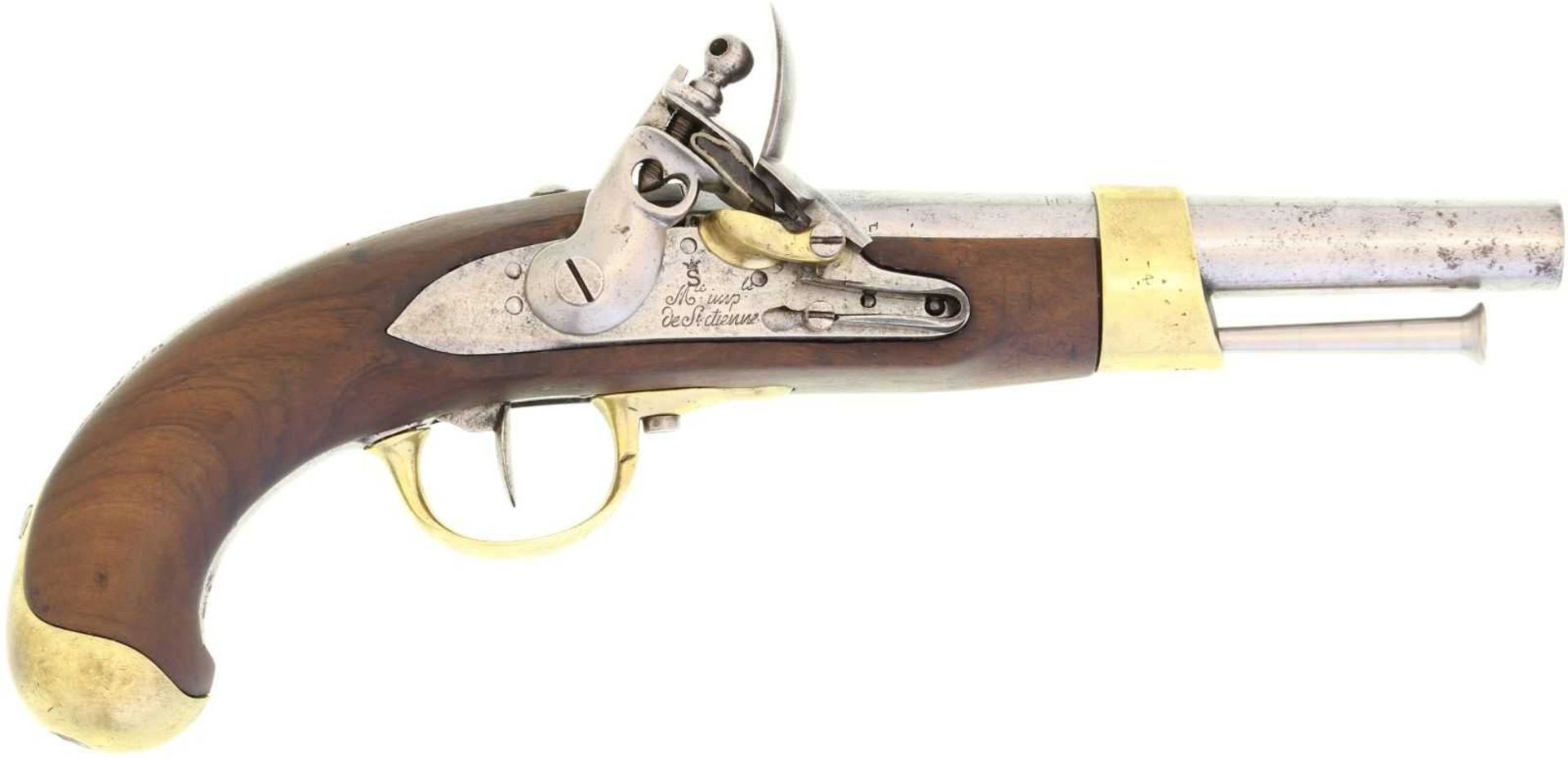 Steinschlosspistole, franz. Mod. an 9, Manufacture Imperial de St. Etienne, Kal. 17.6mm LL 200mm, TL