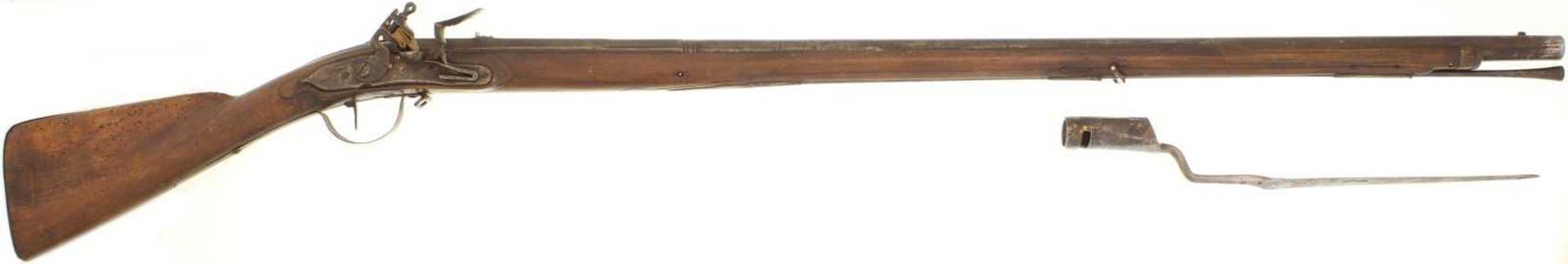 Steinschlossgewehr, Preussen? kant. Ord. um 1720, Kal. 19.5mm LL 1080mm, TL 1440mm, Rundlauf,