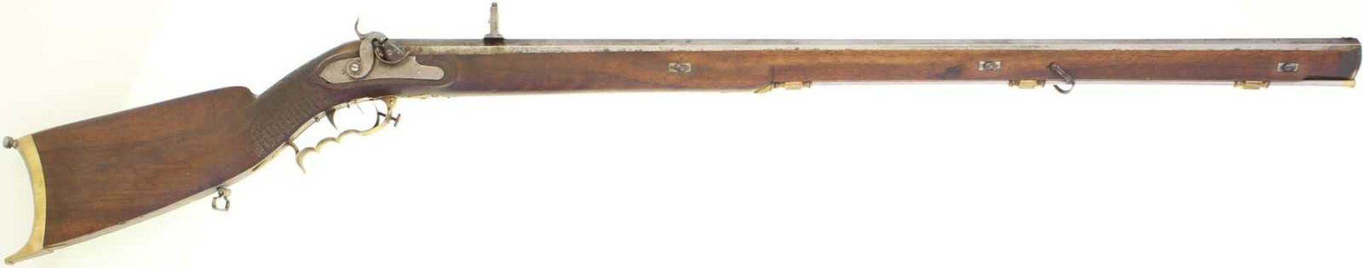 Standstutzer 1820/40, Kal. 16mm Perkussion aus Steinschloss aptiert, Achtkantlauf gezogen, LL 960mm.