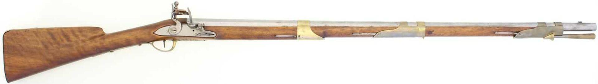 Steinschlossgewehr, Offizierswaffe, Kal. 15mm LL 940mm, TL 1340, Rundlauf, hinterer Drittel