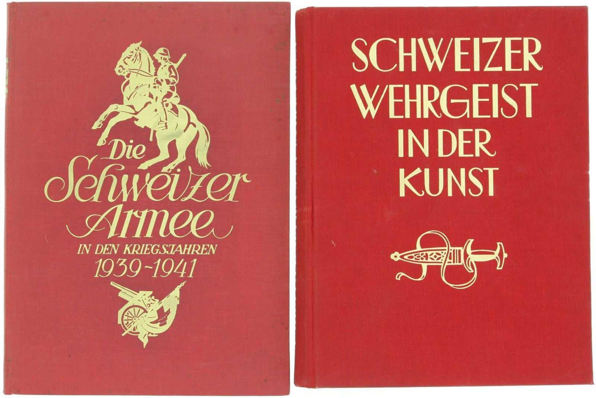 Konvolut von 2 Kunstbücher 1. Schweizer Wehrgeist in der Kunst, mit vielen Reproduktionen