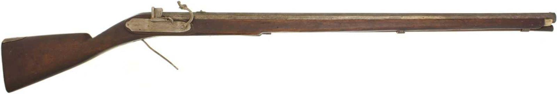 Luntenschlossbüchse, 1621, Kal. 20mm LL 1060mm, TL 1460mm, gezogener Achtkantlauf, datiert 1621.