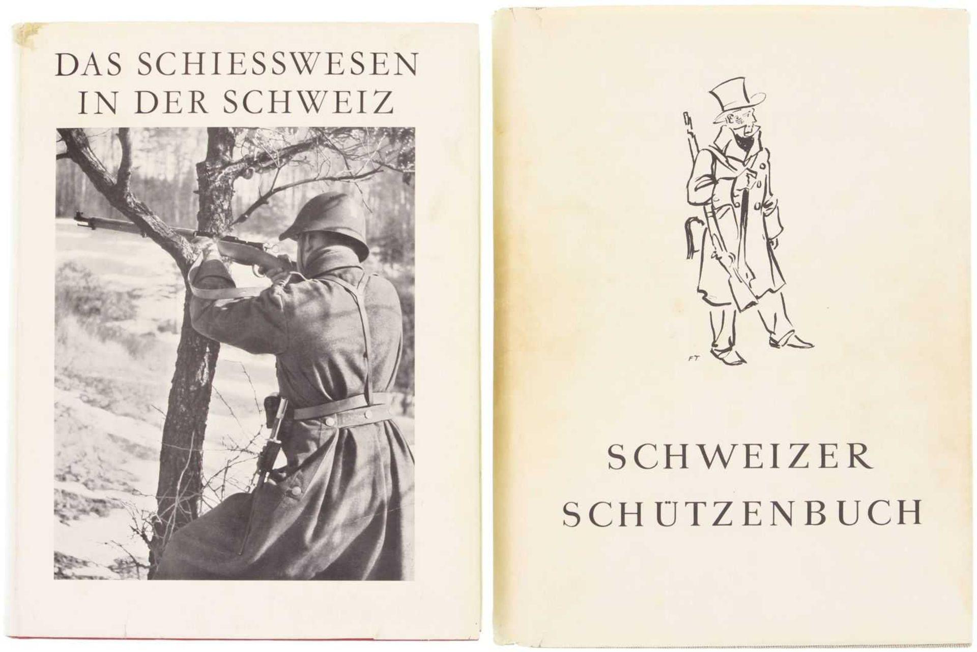 Konvolut von 2 Büchern 1. Schweizer Schützenbuch 1943, Standardwerk über Geschichte, Waffen,