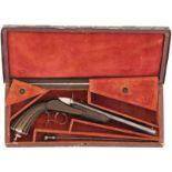 Scheibenpistole Flobert Paris, ca 1860, Kal. 6mmRF@ LL 230mm, Polierter und brünierter Achtkantlauf,