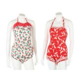 A group of 1950s printed cotton swim and playsuits,