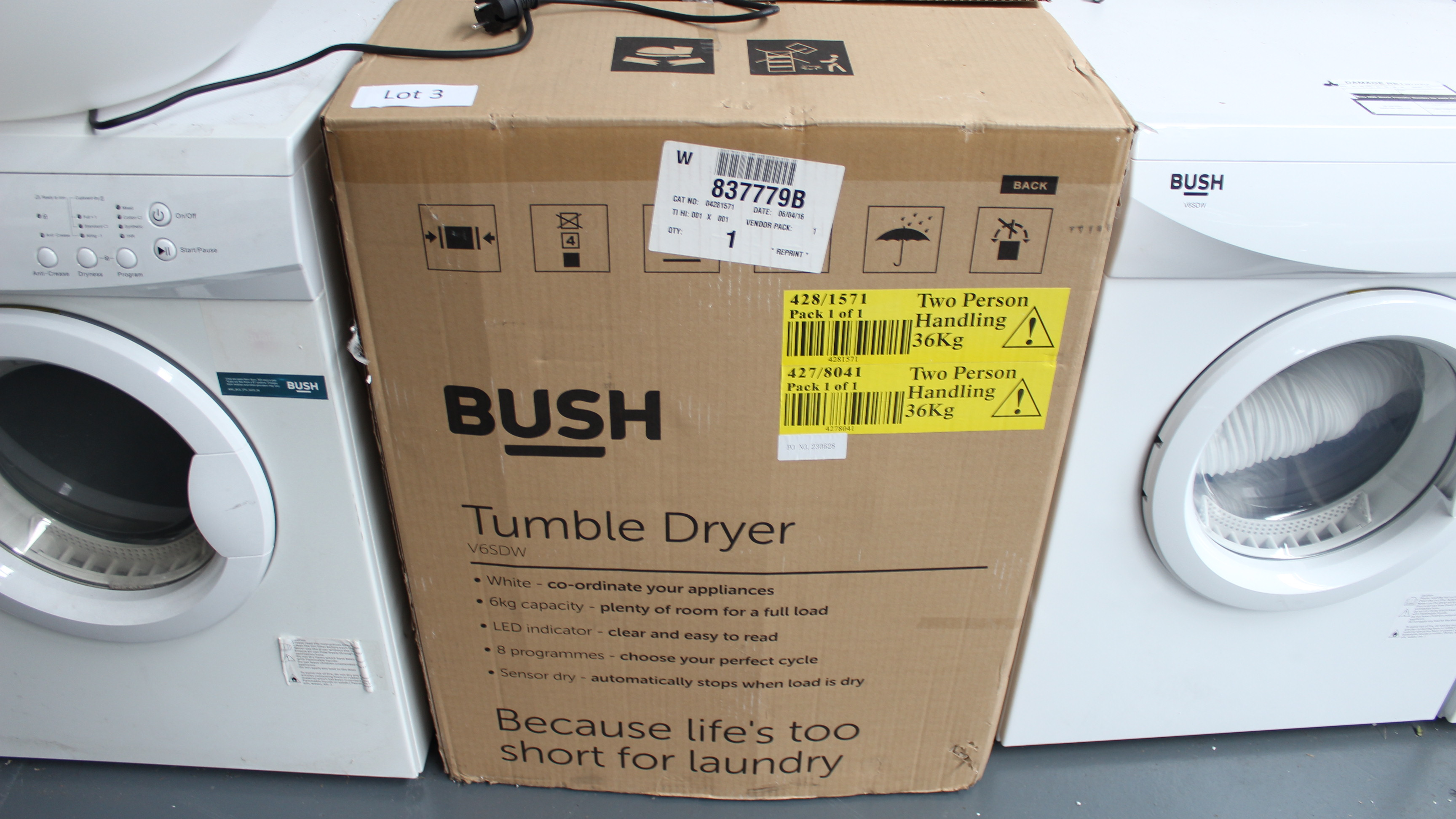 Lot 3 - Bush V6SDW Tumble Dryer Customer Returns