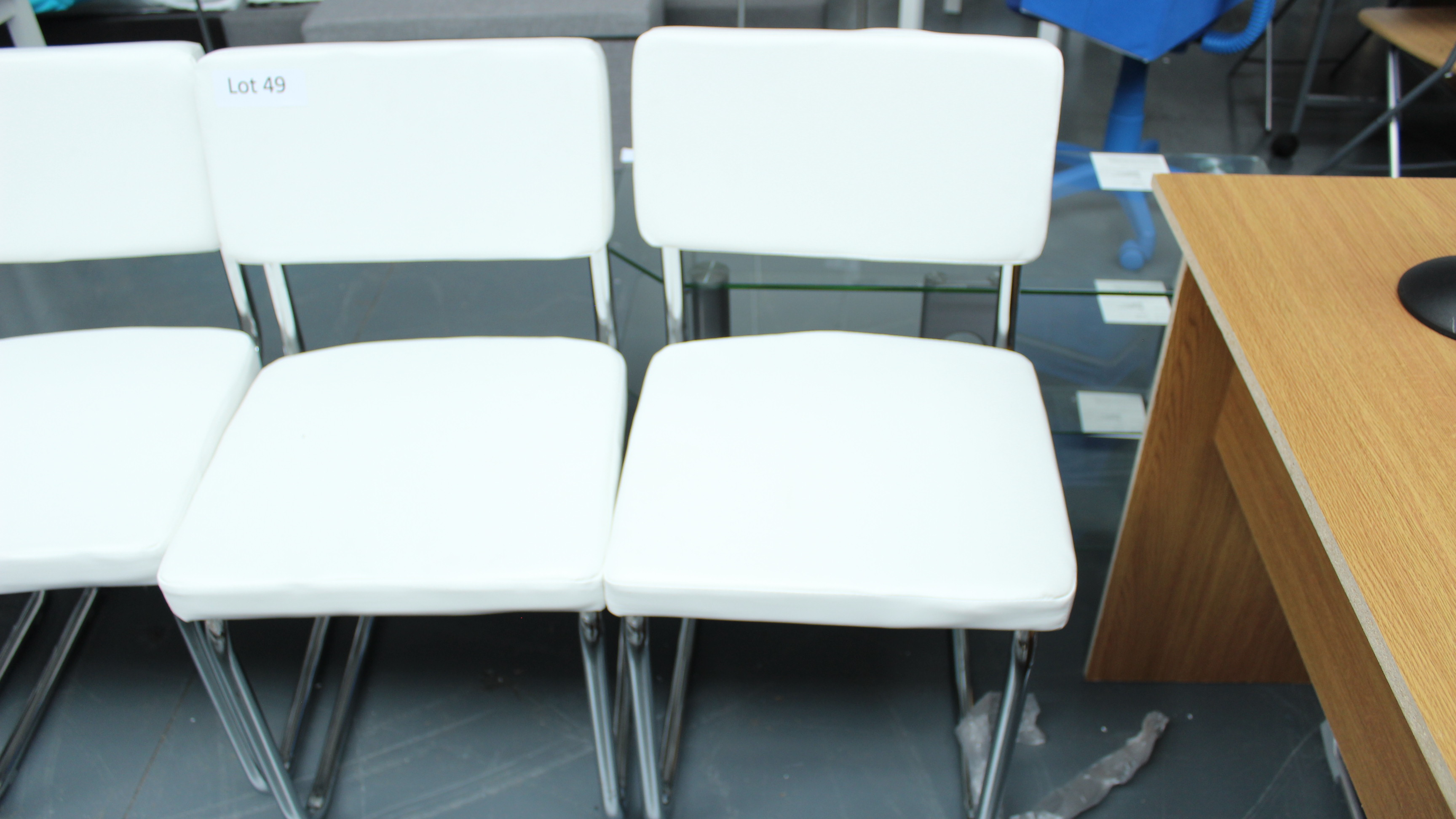 Lot 49 - 2 White & Chrome Chairs New