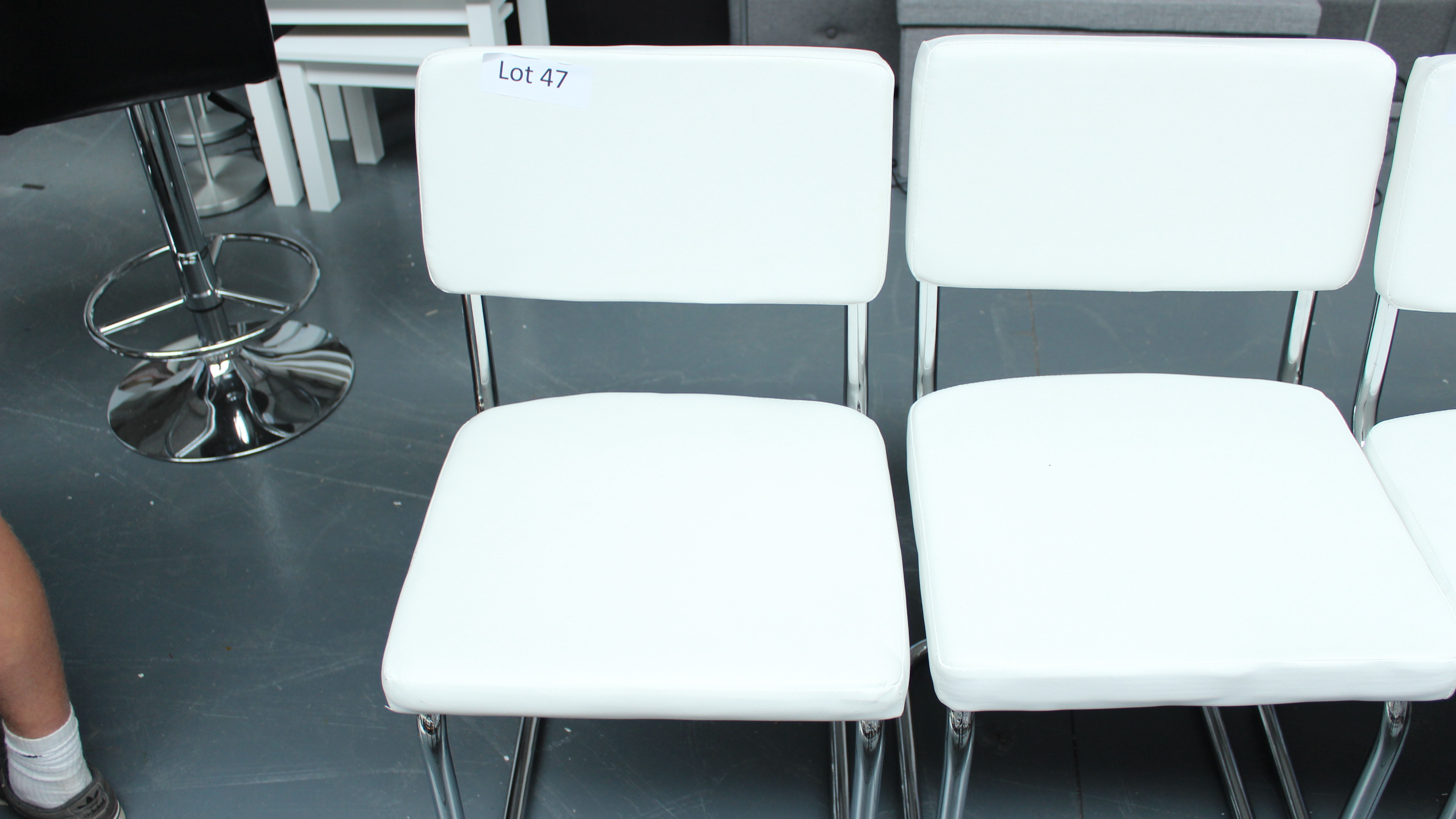 Lot 47 - 2 White & Chrome Chairs. New