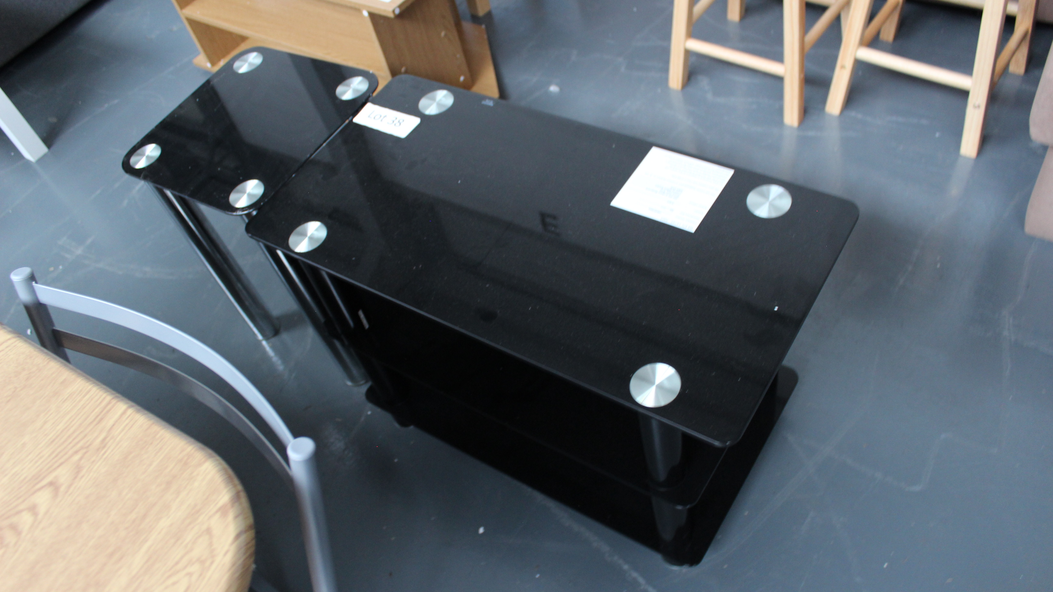 Lot 38 - 2 Black Glass Tables. Customer Returns