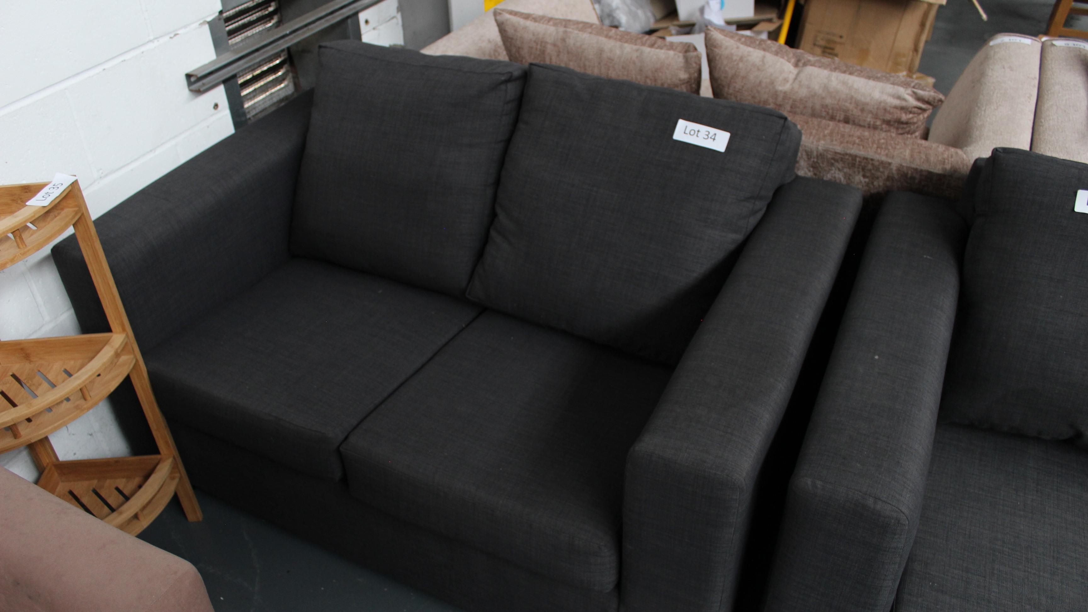 Lot 34 - 2 Seater Charcoal Sofa. Customer Returns