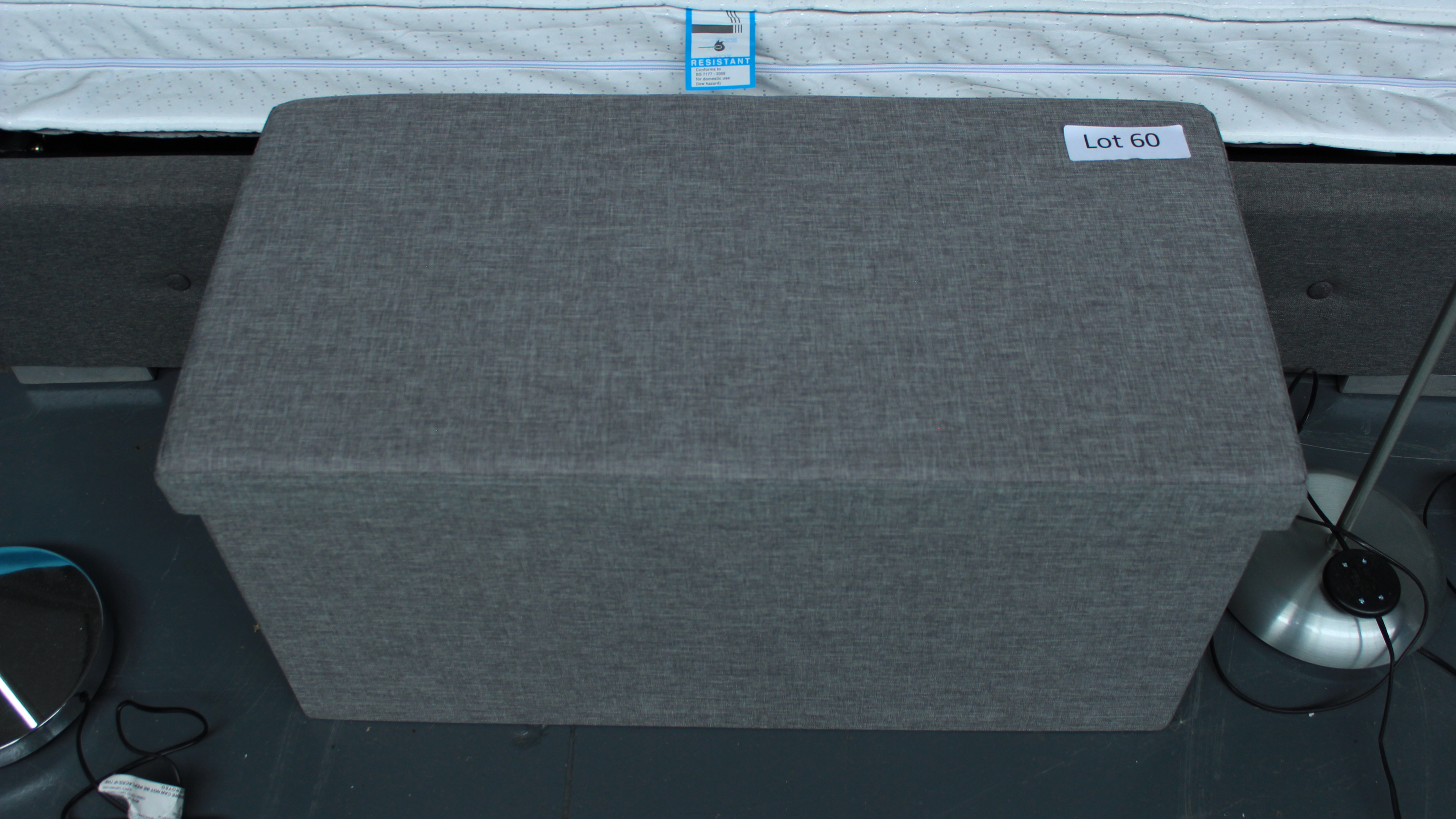 Lot 60 - Grey Fabric Ottoman. Customer Returns