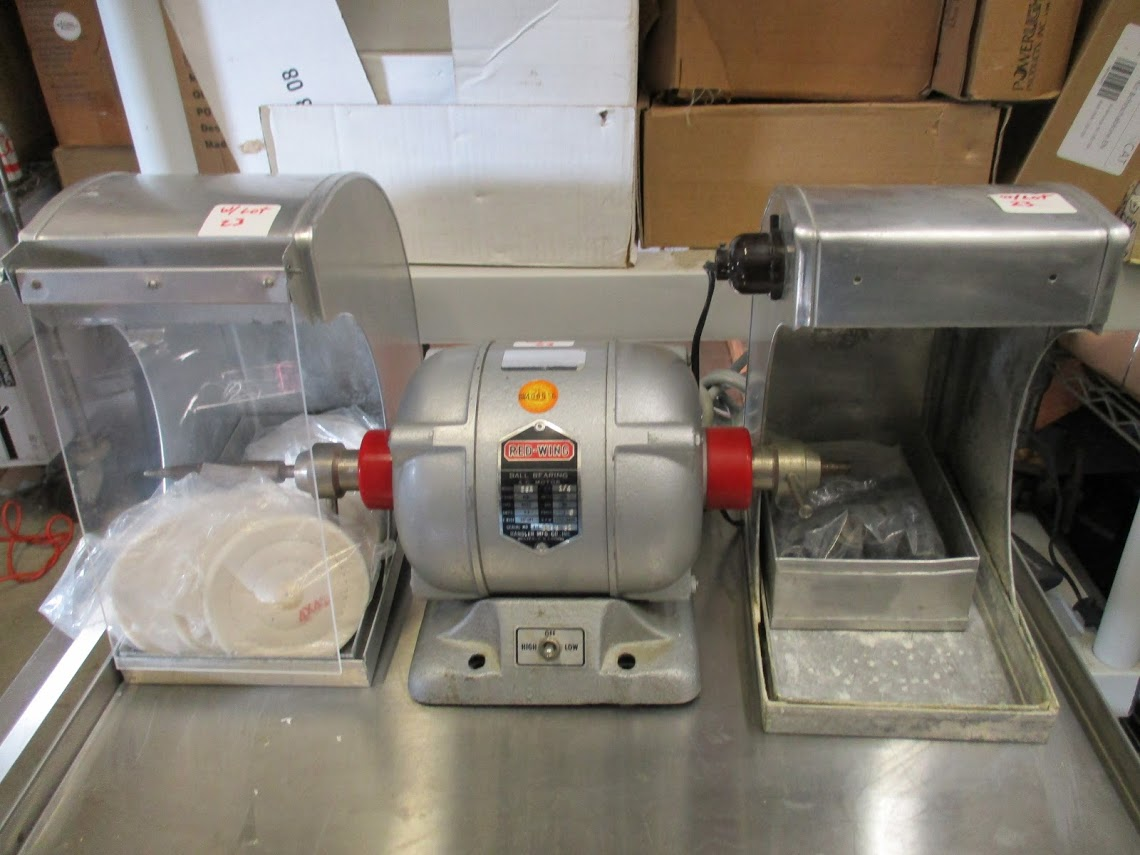 Lot 23 - Red Wing Model 26A Dental lathe/grinder with 2 hoods and accessories. 115V 1/4 HP