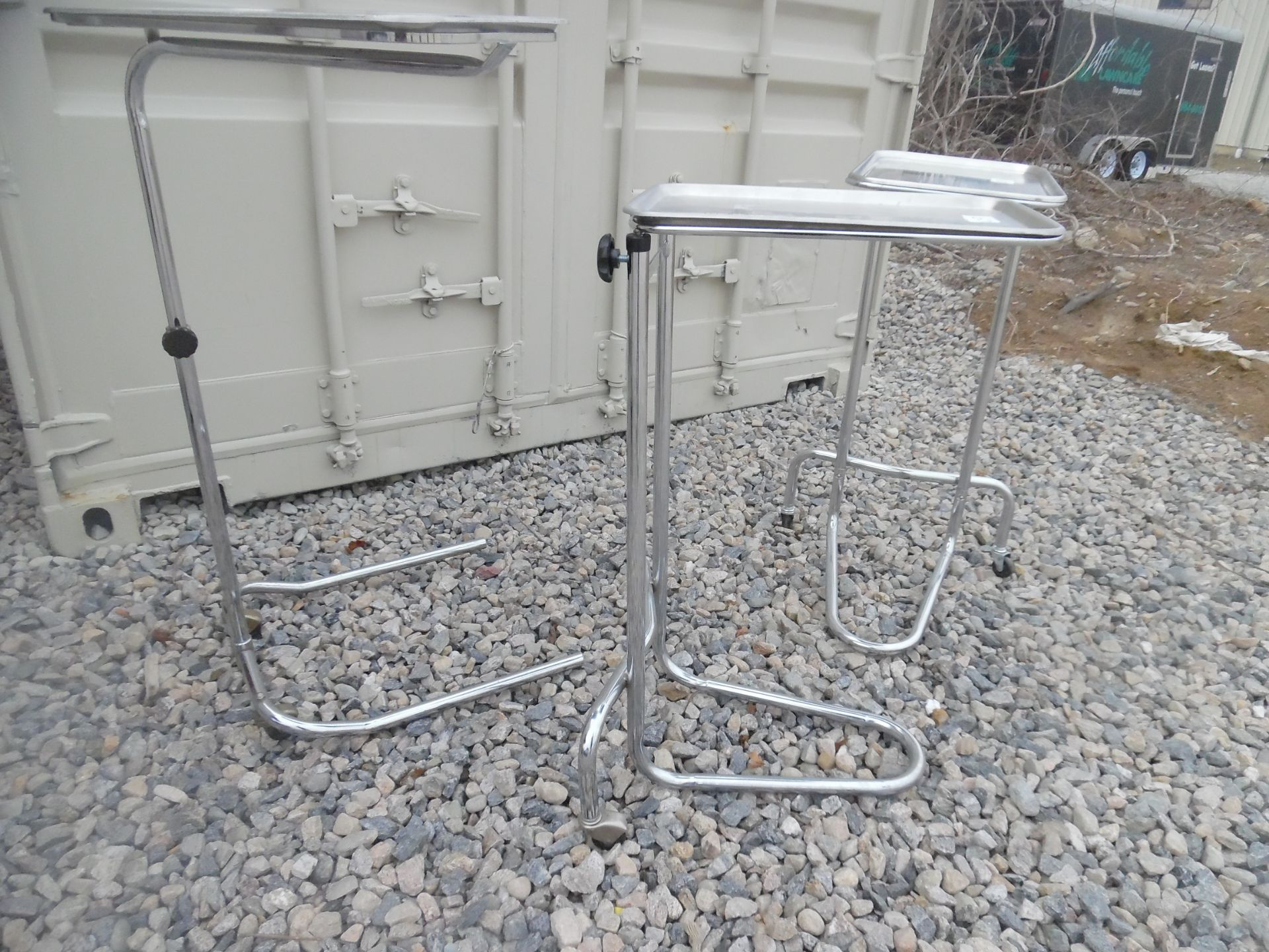 Lot of 3 Medical/surgical stands with trays. - Image 3 of 4