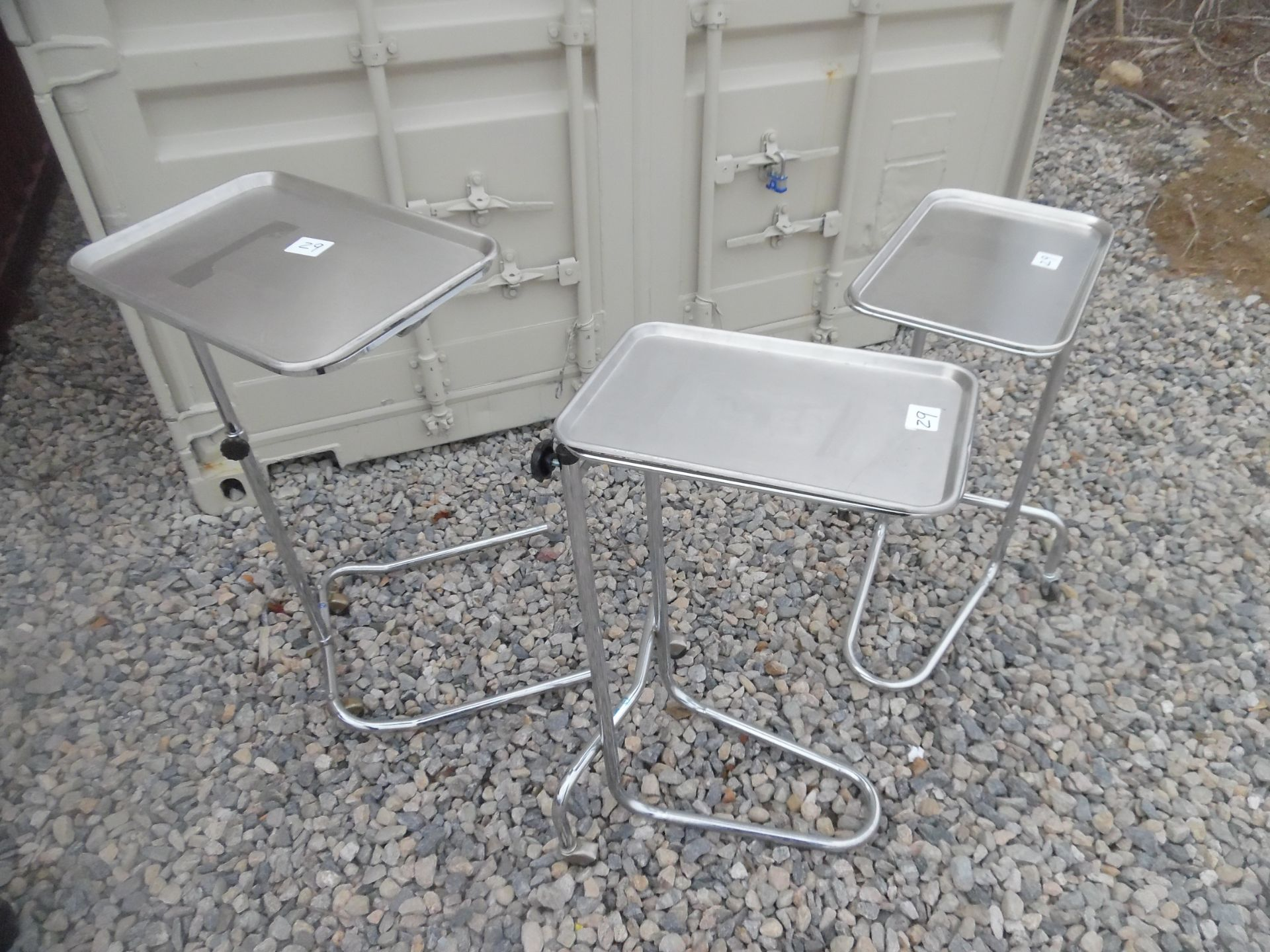 Lot of 3 Medical/surgical stands with trays. - Image 2 of 4