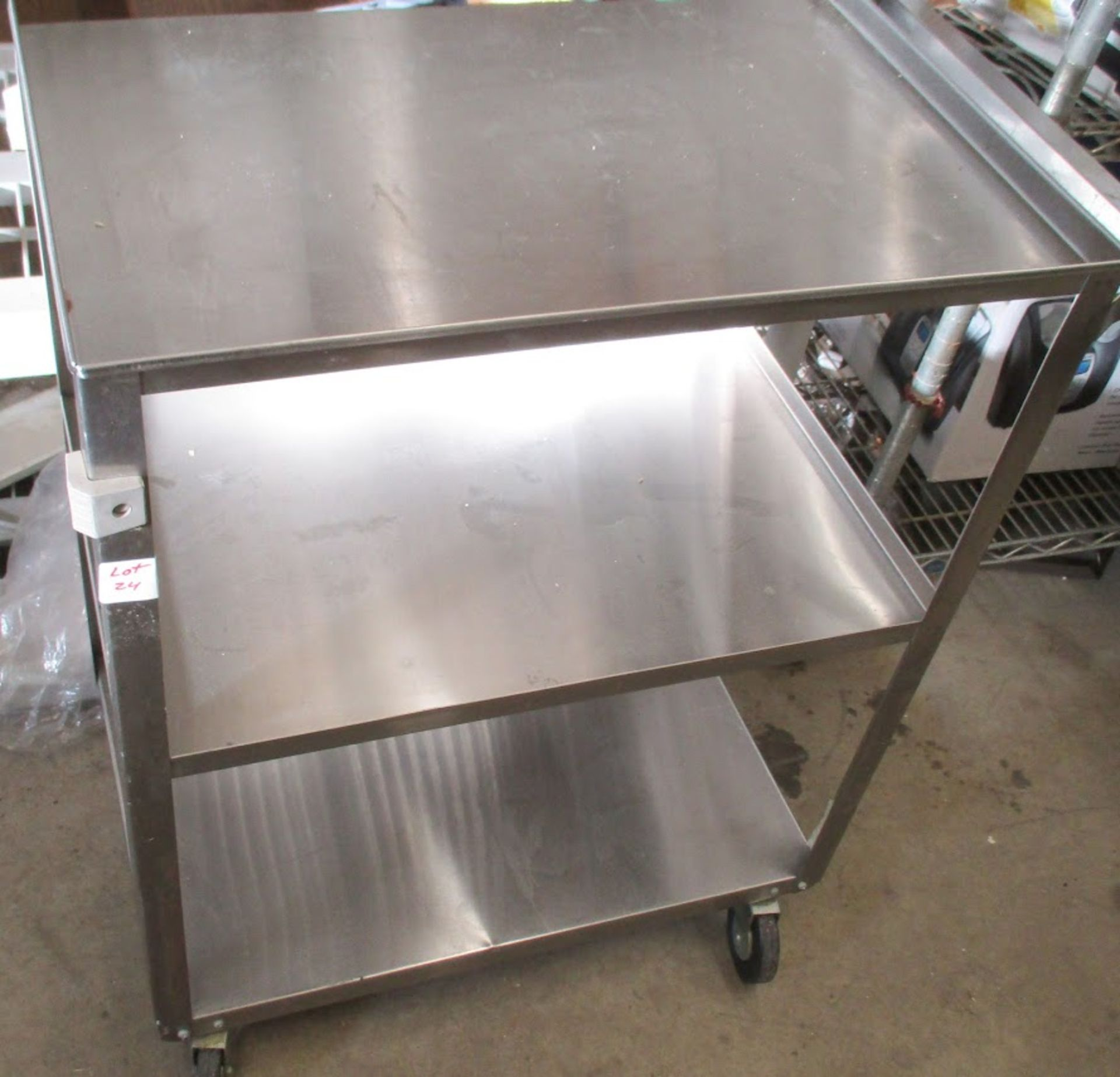 Stainless Steel wheeled medical cart with shelves. - Image 2 of 2