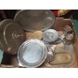 Box of Brass and Plate Communion dishes etc