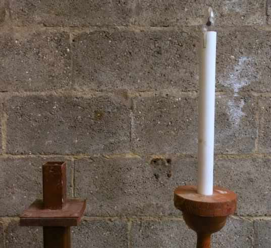 Two Tall Pavement Candlesticks One electric - Image 5 of 6