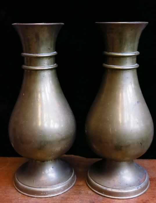 Outsize Church Brass Flower Vase Pair - Image 2 of 4
