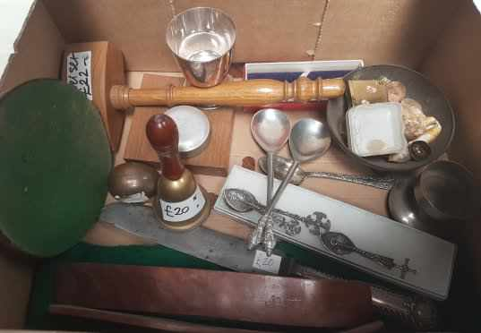 Small Box of items, Victorian Communion Knife, Auction Gavel etc