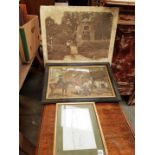 Three Pictures - Old Photograph Loxhill Post Office Hunting Scene and Nude