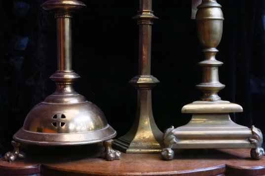 Three Grand Antique Brass Candlesticks - Image 3 of 6