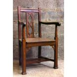 Solid Oak 1920s Clergy Chair with Quatrofoils