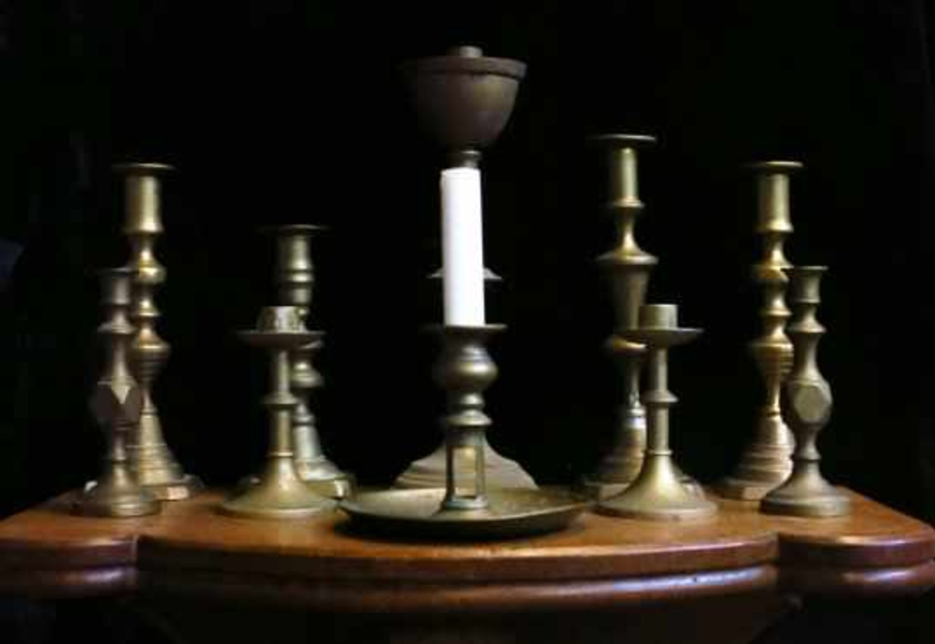 Assorted Lot of 10 Antique Brass Candlesticks - Image 3 of 6