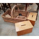 Large Wicker Basket with other wicker boxes basket and two Ballot Boxes