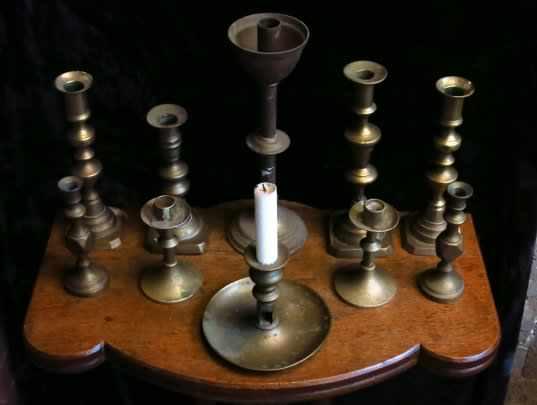 Assorted Lot of 10 Antique Brass Candlesticks