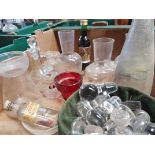 Box of assorted Glass Decanters Glass Stoppers Wafer Trays