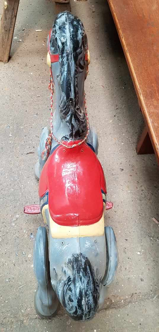 Mobo Early 1960s Tin Plate Wheeled Pedal Horse - Image 6 of 6