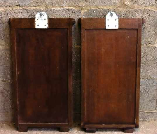 Pair of Oak Hymn Boards with Dentil Moulding Tops - Image 5 of 6