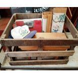 Old crate with Vintage Scales Stool Chinese Scroll Paintings and cap