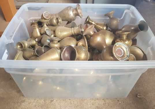Large Box of Church Brass Flower Vases Clear Box - Image 3 of 4