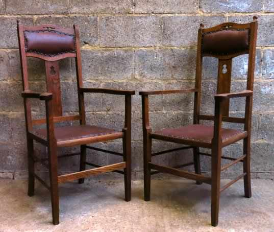 Pair of Upholstered Arts and Crafts Style Carver Clergy Chairs - Image 4 of 8